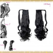 Wrap Around Clip In Pony Curly Off Black Hair Extension UK
