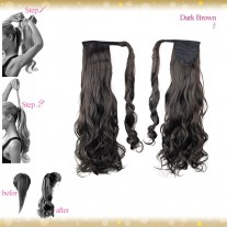 Wrap Around Clip In Pony Curly Dark Brown Hair Extension UK