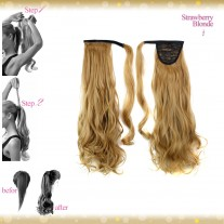 Wrap Around Clip In Pony Curly Strawberry Blonde Hair Extension UK