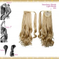 Wrap Around Clip In Pony Curly Strawberry Blonde Light Blonde Mix Hair Extension UK