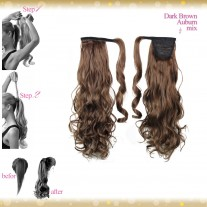 Wrap Around Clip In Pony Curly Dark Brown Auburn Mix Hair Extension UK