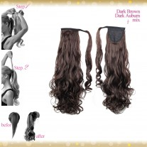 Wrap Around Clip In Pony Curly Dark Brown Dark Auburn Mix Hair Extension UK