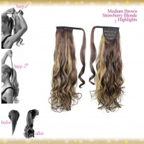Wrap Around Clip In Pony Curly Medium Brown Strawberry Blonde Highlights Hair Extension UK