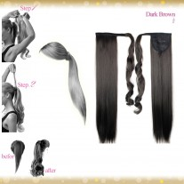 Wrap Around Clip In Pony Straight Dark Brown Hair Extension UK