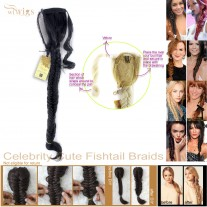 Celebrity Cute Off Black Fishtail Braids Velcro Wrap Ponytail Plaited Hair Extensions