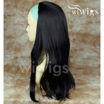 Heat Resistant Black 3/4 Fall Hair Piece Long Straight Half Wig hairpiece