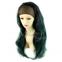 AMAZING Black Brown & Green Long 3/4 Fall Wig Hairpiece Wavy Dip-Dye Ombre hair from WIWIGS UK