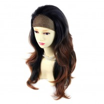 AMAZING Black Brown & Red Long 3/4 Fall Wig Hairpiece Wavy Dip-Dye Ombre hair from WIWIGS UK
