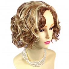 Lovely Short Curly Blonde mix Red Summer Style Skin Top Lady Wigs from WIWIGS UK