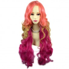 Wiwigs Stunning Long Curly Pink Blonde & Purple red Ladies Wig Skin Top Wavy Cosplay Wig