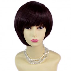 Asymmetric BoB Short Brown & Burgundy Ladies Wig skin top Natural Hair WIWIGS UK
