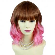 Lovely Short Wavy Brown red & Pink Skin Top Hair Cosplay Ladies Wigs WIWIGS UK