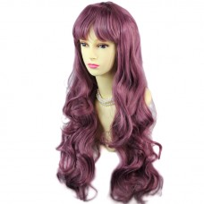 Dazzling Long Wavy Dark Purple Lady Wig Cosplay Party Hair from WIWIGS UK