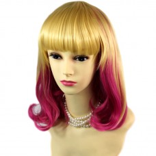Lovely Medium Straight Bob Blonde & Pink Lady Wig Cosplay Party Hair WIWIGS UK