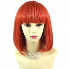Sexy Lovely Straight Bob Neon Red Ladies Wigs Cosplay Party Hair from WIWIGS UK