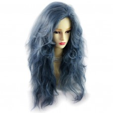 Romantic SEXY Wild Untamed Long Wavy Wig Grey Blue Ladies Wigs from WIWIGS UK