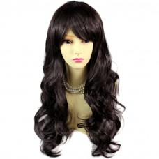 Dazzling Natural Wavy Dark Brown Soft Long Ladies Wigs skin top Hair WIWIGS UK