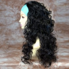 Curly Black 3/4 Fall Hairpiece Long Curly Layered Half Wig Hair Piece UK