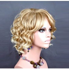 Lovely Short Curly Blonde mix Summer Style Ladies Wig UK