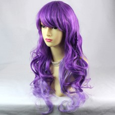 Lovely Long Curly Wavy Purple mix Ladies Wigs Cosplay Party Hair WIWIGS UK