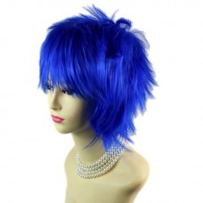 STRIKING Dark Blue Man's Wig Short Spikey Style Lady Wig Cosplay Party WIWIGS UK