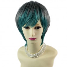 Posh Sexy Green mix Grey Short Ladies Wigs Cosplay Party Hair from WIWIGS UK