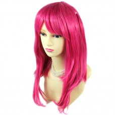 Sexy Face Frame Long Straight Hot Pink Ladies Wigs Cosplay Party Hair WIWIGS UK