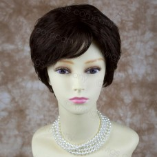 Wiwigs Natural Human Hair Dark Brown Short Wavy Full Ladies Wig