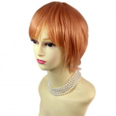 STRIKING Light Orange Short Ladies Wigs Cosplay Party Hair from WIWIGS UK