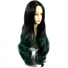 Long Wavy Lady Wigs Black Brown & Green Dip-Dye Ombre hair WIWIGS