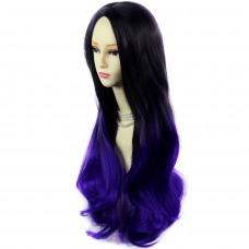 Long Wavy Lady Wigs Black Brown & Purple Dip-Dye Ombre hair WIWIGS