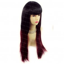 Gorgeous Long Layered Black Red mix Straight Ladies Wigs Skin Top Hair WIWIGS UK