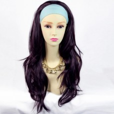 Sexy Dark Burgundy / Plum Pretty Long 3/4 Fall Wig Hairpiece Wavy Layered Hair Ladies wigs from WIWIGS UK