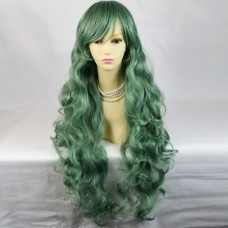 Watch Out Cosplay Long Curly Green Ladies Wigs from WIWIGS UK