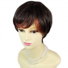 Classic Natural Style Hair Short Dark Brown & Red Ladies Wigs from WIWIGS UK
