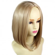 Straight Face Frame Soft Medium BoB Blonde mix Ladies Wig skin top Hair WIWIGS UK