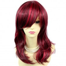 Wonderful wavy ends Medium Burgundy mix Red Heat Resistant Ladies Wigs Hair UK