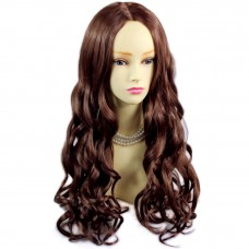 Romantic Curly Long Dark Auburn Red mix skin top hair Ladies Wigs from WIWIGS UK