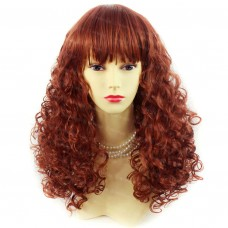 Lovely Summer Style Medium Curly Copper Red Skin Top Ladies Wigs WIWIGS UK