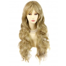 Sexy Beautiful Curly Golden Blonde Long Wavy Ladies Wigs skin top wig UK