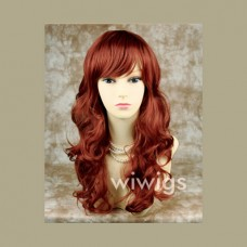Stunning Copper Red Curly Wavy Long Ladies Wigs