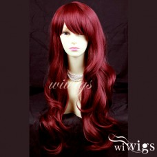 Sexy Layered wavy Burgundy Red mix Long Ladies Wigs Skin Top Wig