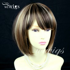 Beautiful Heat Resistant Short Bob Chestnut Brown mix Blonde Lady Wig WIWIGS UK