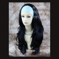 Wavy Layered JET Black Long 3/4 Wig Fall Hairpiece s05x1