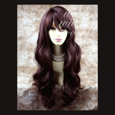 Sexy Beautiful Layered wavy Dark Auburn Long Ladies Wigs Skin Top Wig UK