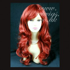Stunning Long Wavy Light Copper Red mix Cosplay Ladies Wigs UK