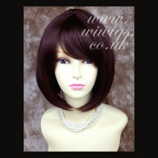Silky Short Bob Dark Auburn wig Ladies Wigs Skin Top WIWIGS UK