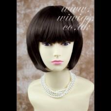 Silky Short Bob Medium Brown wig Ladies Wigs Skin Top WIWIGS UK 0126