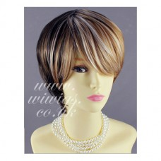 Short Straight Modish Brown mix copper gold mix Shown White Ladies Wigs UK 91
