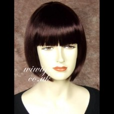 Silky Short Bob Skin Top Dark Wine Red wigs Lady Wig UK